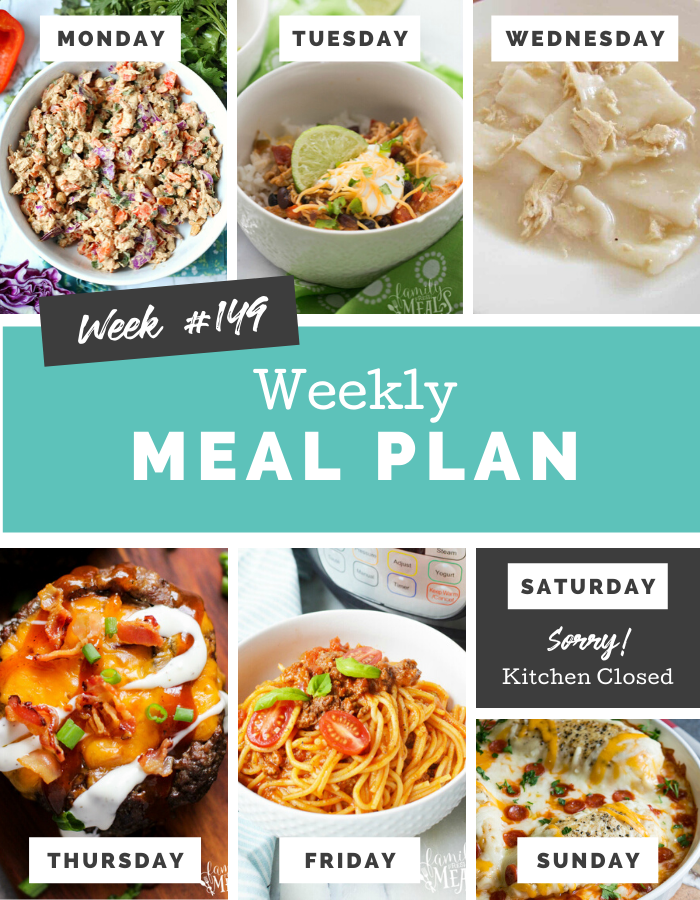 Welcome back to another Easy Weekly Meal Plan Week 149.  There are a lot of yummy and easy recipes for you to try out this week! #mealplan #weeklymealprep #mealprep #familyfreshmeals #dinner #kidapproved #familydinner via @familyfresh