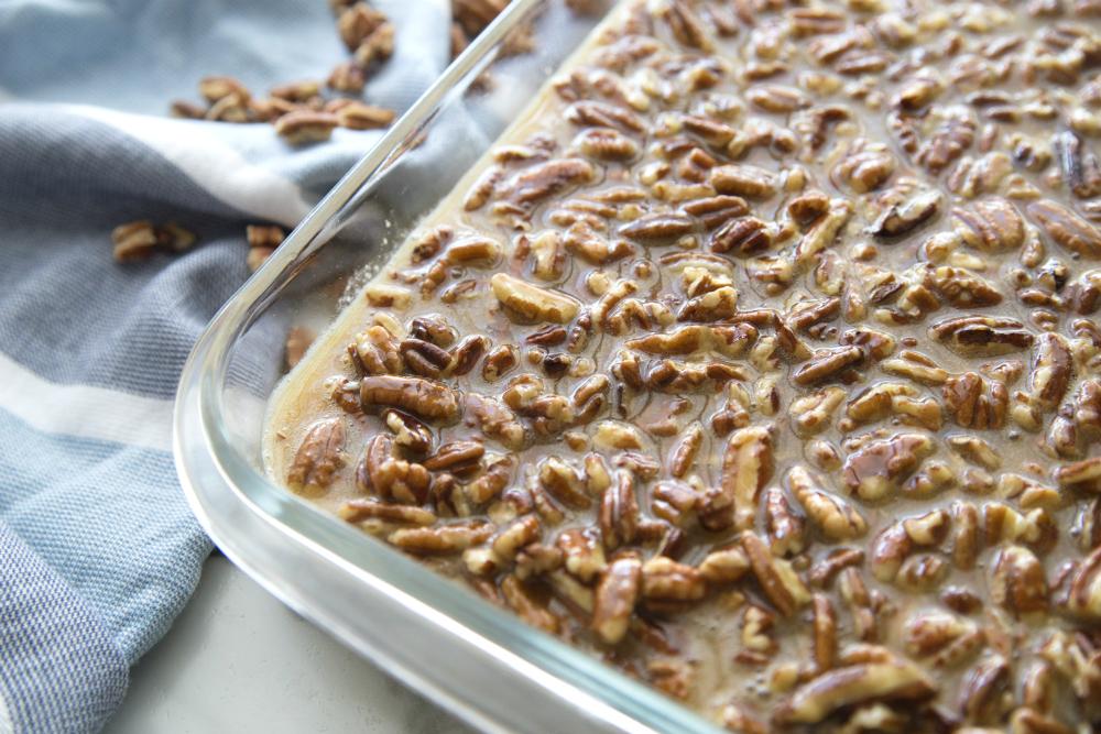 Pecan Pie Bars - pecan mixture poured into pan