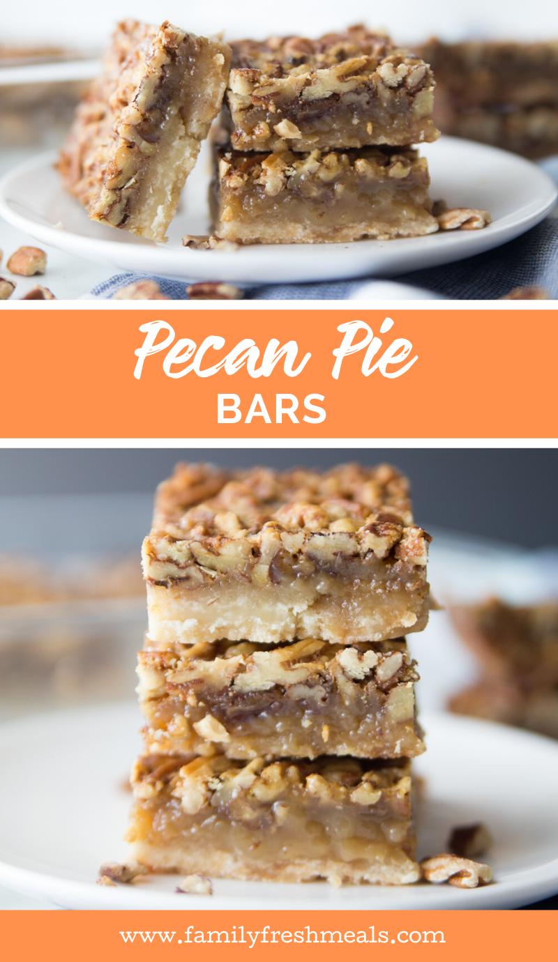 Pecan Pie Bars recipe from Family Fresh Meals #pecanpie #pie #bars #dessert #holidaydessert #familyfreshmeals #thanksgiving #christmas #dessertbars via @familyfresh