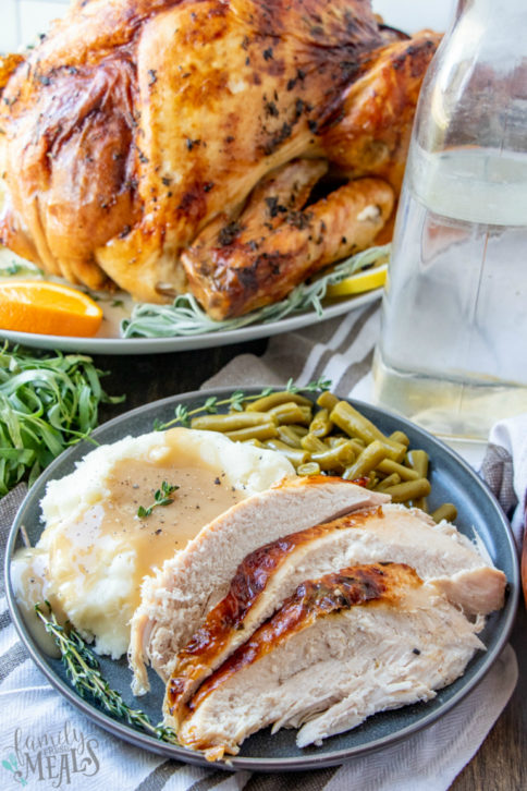 Roasted Thanksgiving Turkey Recipe -- How to brine and roast a turkey from Family Fresh Meals