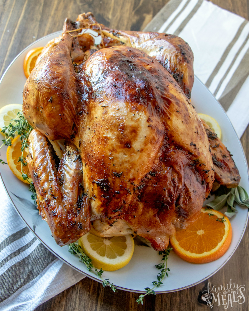 Roasted Thanksgiving Turkey Recipe - How to brine and roast a turkey from Family Fresh Meals