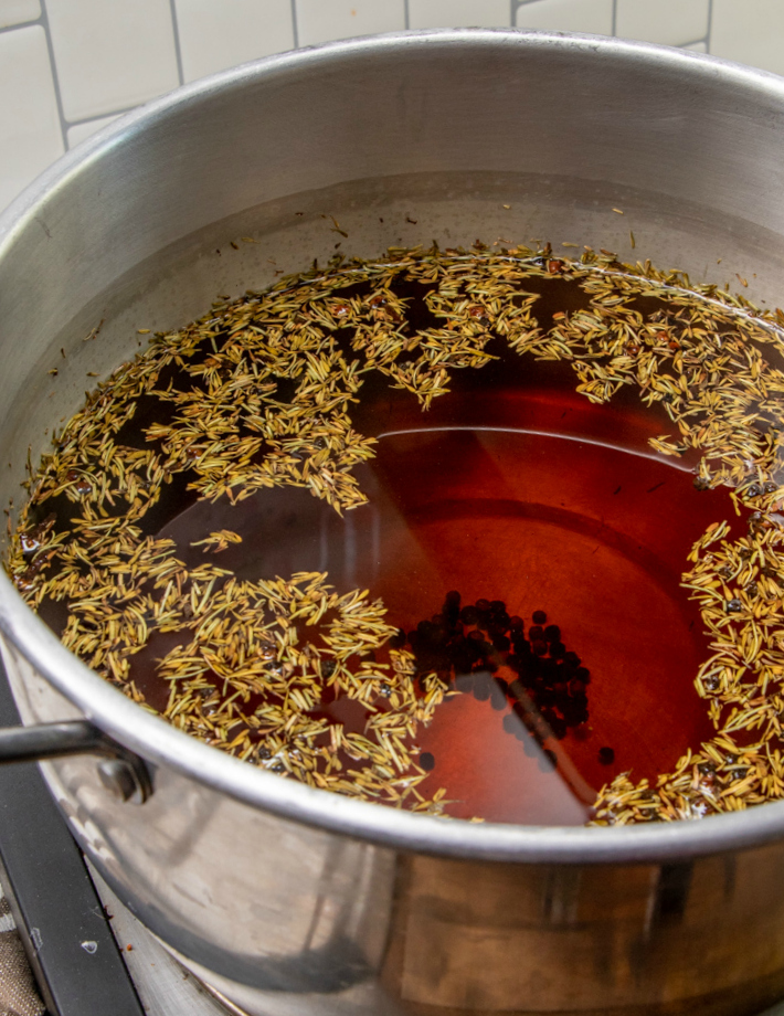 Turkey brine in a large cooking pot