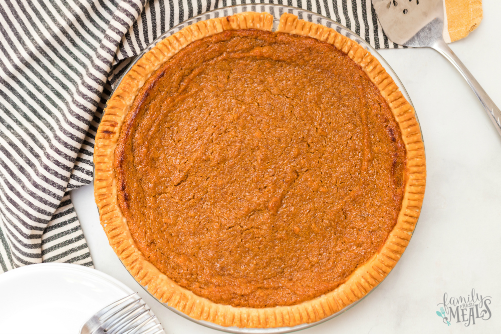 Sweet Potato Pie - baked pie in baking dish