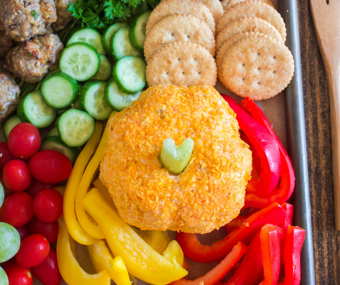 Thanksgiving Appetizer Snack Board - mini pumpkin cheese ball on meat and cheese board