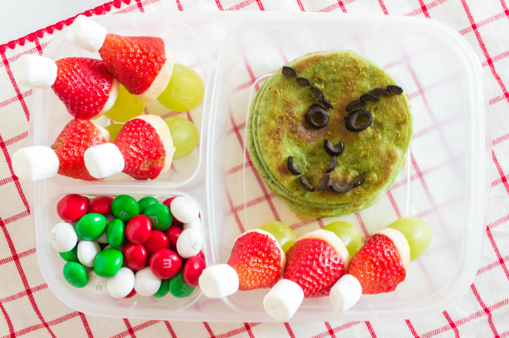 Cute Holiday Lunchbox Ideas - grinch lunch packed in Easylunchboxes