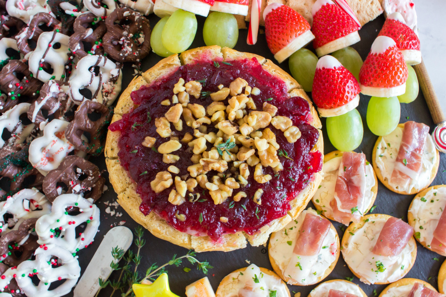 Holiday Appetizer Snack Board - Cranberry Brie Bread Bowl - Family Fresh Meals