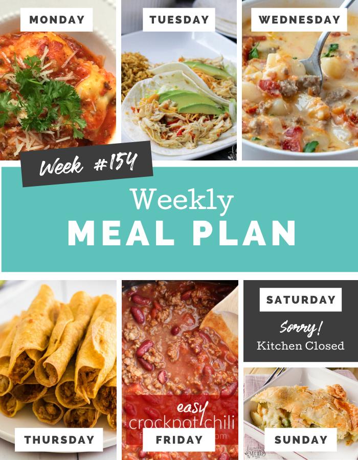 Easy Weekly Meal Plan Week 154 - Family Fresh Meals