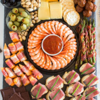 New Years Appetizer Meat and Cheese Board