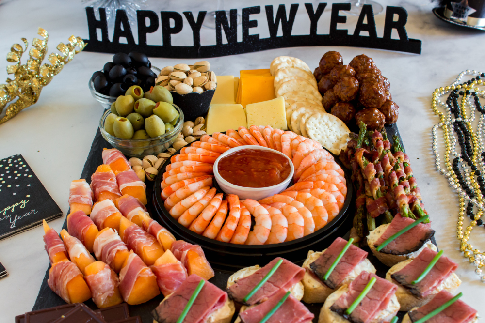 New Years Appetizer Meat and Cheese Board - New Year's Appetizer