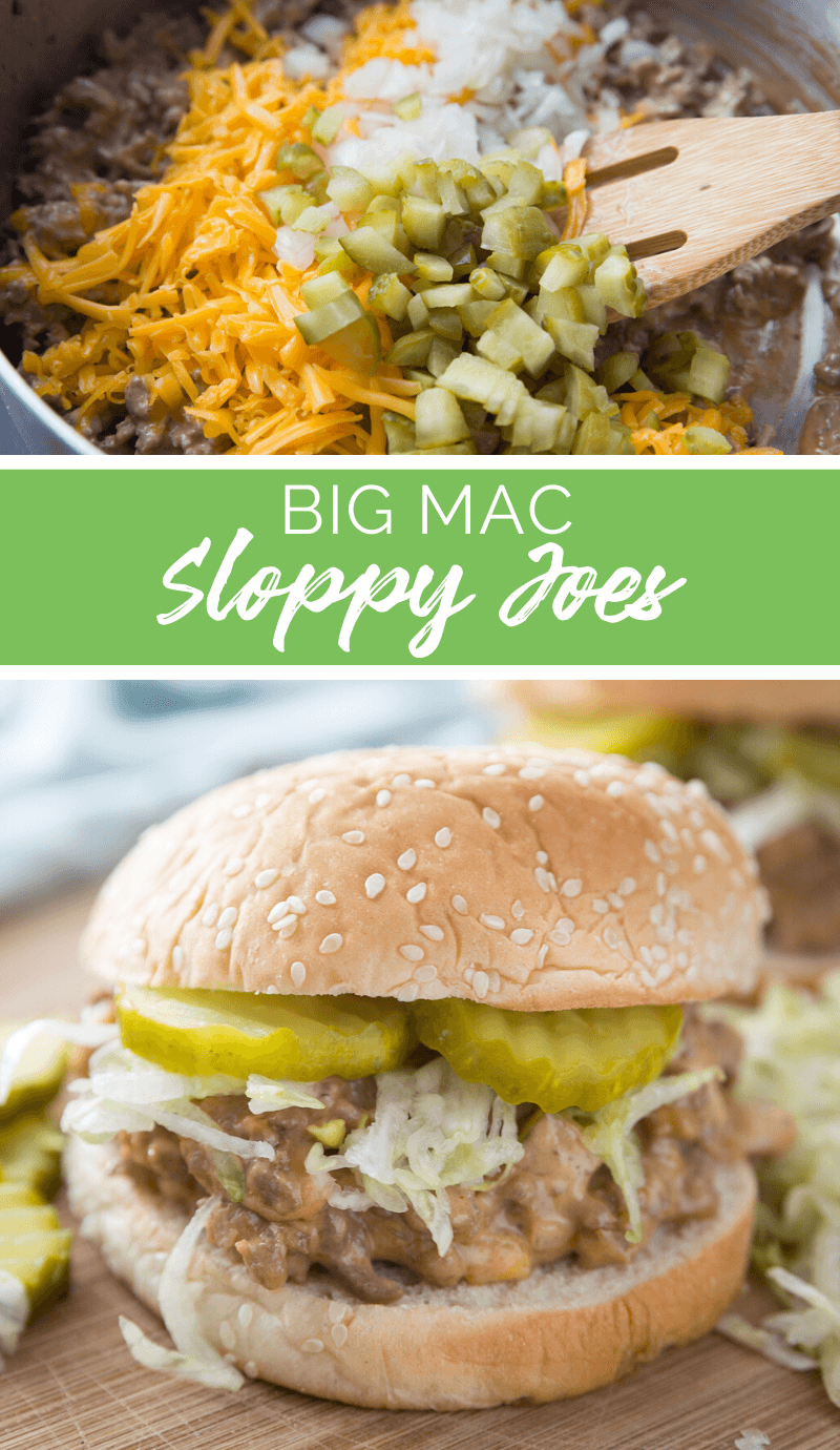 This Big Mac Sloppy Joe gives you all the flavors of your favorite McDonald's burger in every sloppy, oozing bite. It's like two all-American sandwiches in one. #bigmac #familyfreshmeals #recipe #easyrecipe via @familyfresh