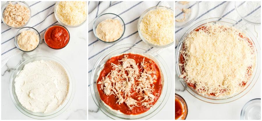 Chicken Parmesan Dip - assembling dip in a class baking dish