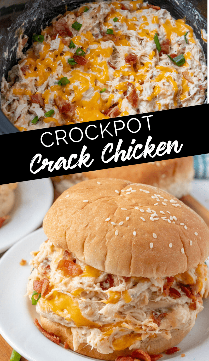 Creamy Crockpot Crack Chicken #familyfreshmeals #crackchicken #chicken #creamychicken #crockpot #slowcooker #dinner #bacon #cheddar via @familyfresh