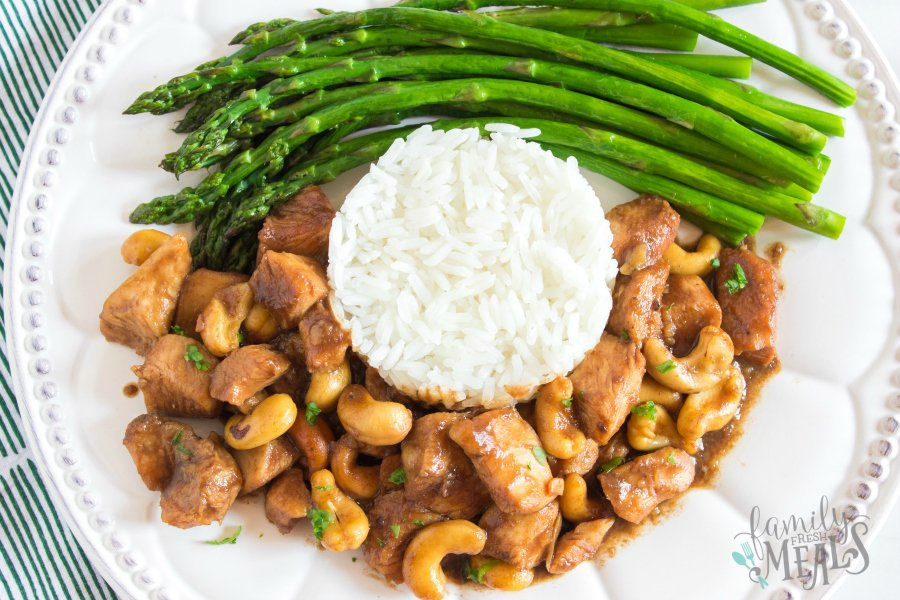 Crockpot Cashew Chicken - Served with white rice and steamed asparagus