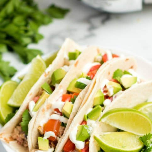 Crockpot Cilantro Lime Chicken - served as tacos from Family Fresh Meals