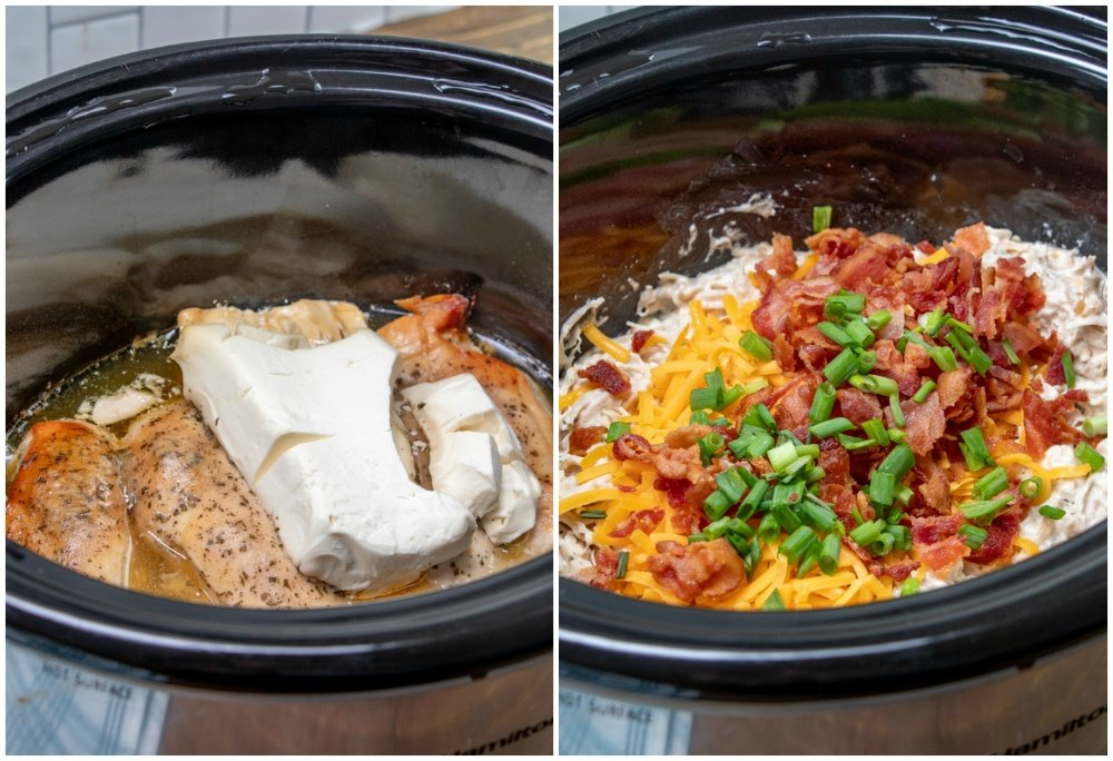 Slow Cooker Crack Chicken - cooked chicken in slow cooker, shredded and topped with cheese, bacon and green onions