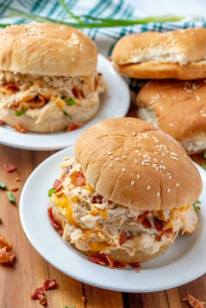 Crockpot Crack Chicken on sesame buns - Family Fresh Meals Recipe