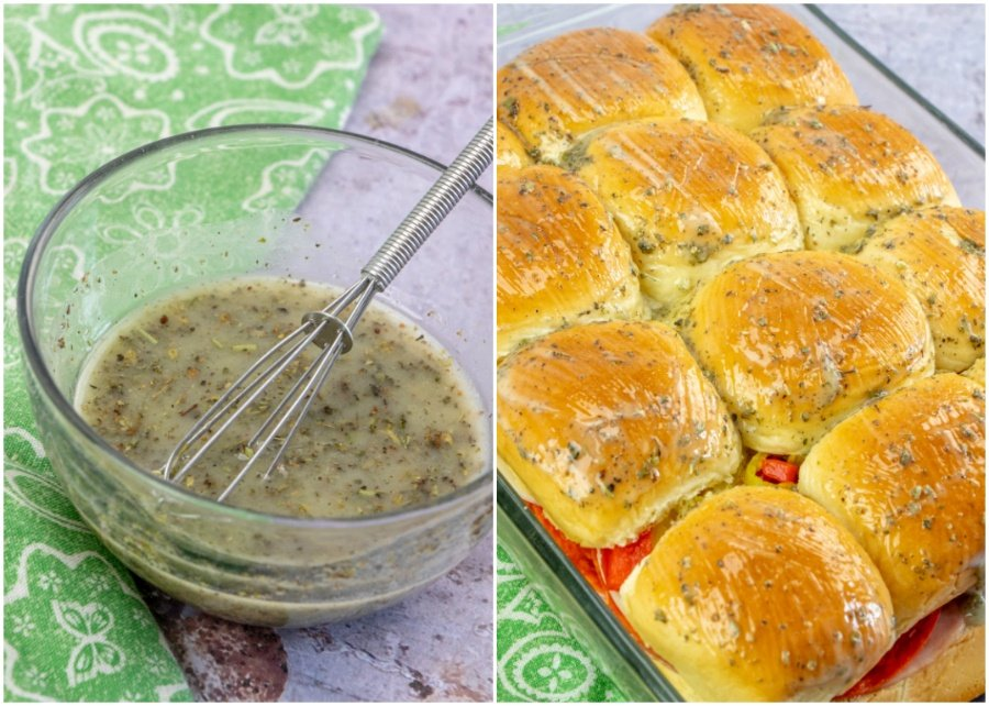Hot Italian Sub Sliders - melted butter and seasoning whisked in a bowl and then brushed on top of sliders
