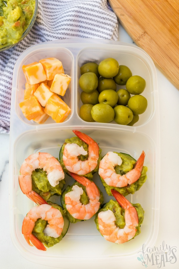 Shrimp Avocado Keto Lunchbox Idea -- Family Fresh Meals
