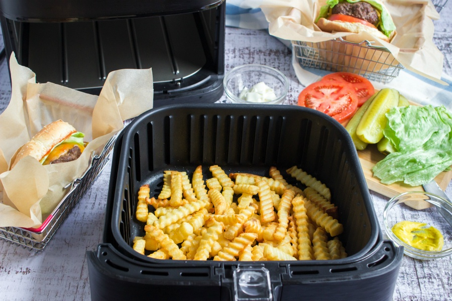 Air Fryer Cheeseburgers - cooked french fries in air fryer
