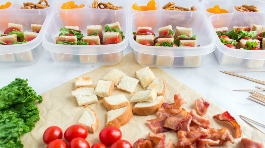Easy BLT Kabobs Lunchbox Idea - showing how to make kabobs for lunch