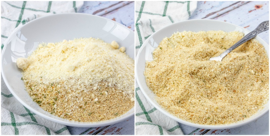 Bread crumbs and parmesan cheese being mixed together