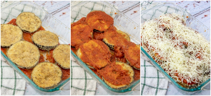 Easy Eggplant Parmesan - putting together the casserole