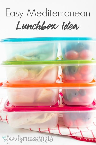 Easy Mediterranean Lunchbox Idea - packed in Easy Lunchboxes containers