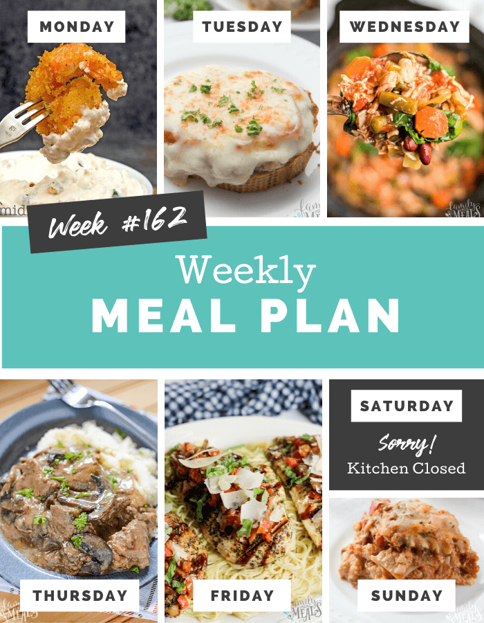 Easy Weekly Meal Plan Week 162 #easymealplan #mealprep #familyfreshmeals via @familyfresh