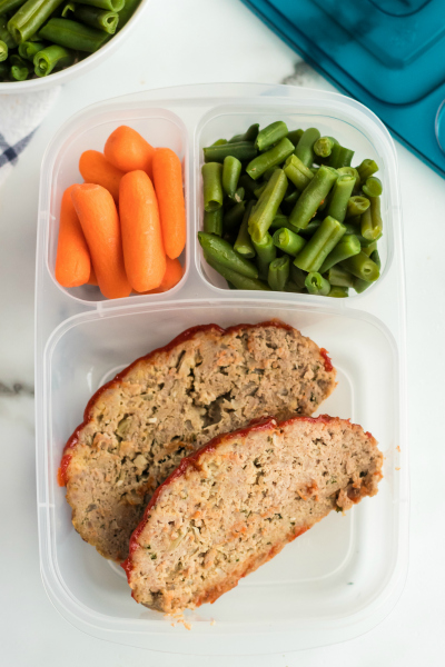 Turkey Meatloaf recipe - leftovers packed for lunch in easy lunchboxes