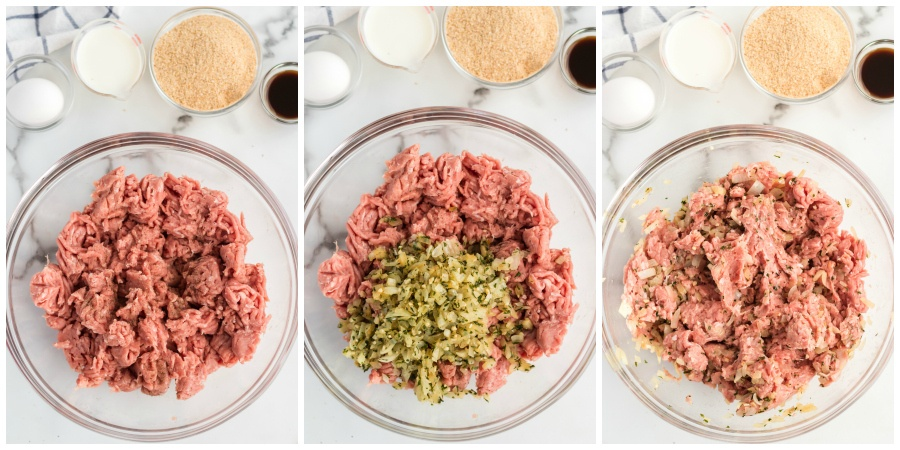 Turkey Meatloaf recipe - mixing ground turkey and seasoning in glass bowl