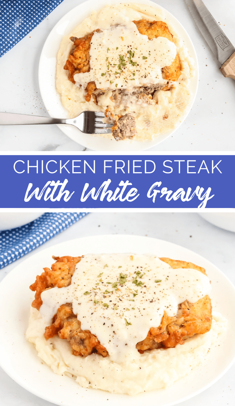 This Chicken Fried Steak with White Gravy recipe has the best of steak and fried chicken, all in one meal. This recipe is comfort food at it's best! via @familyfresh