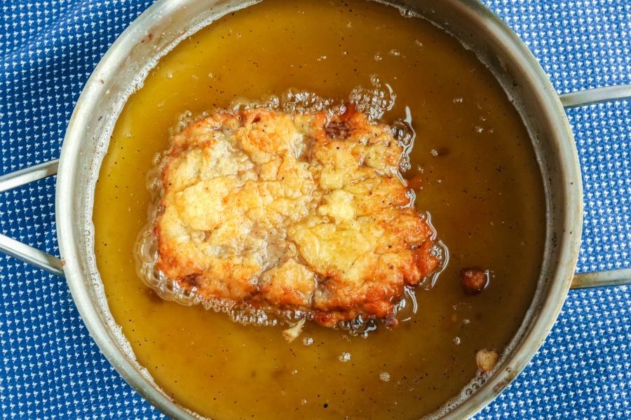 Chicken Fried Steak with White Gravy - chicken fried steak in frying pan
