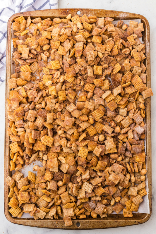 Churro Chex Mix - churro chex mix on baking sheet