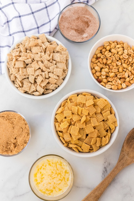 Chex mix cereal, cinnamon sugar mix, peanuts, butter, brown sugar