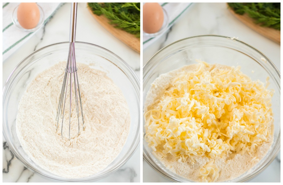 flour and shredded butter being mixed in a glass mixing bowl