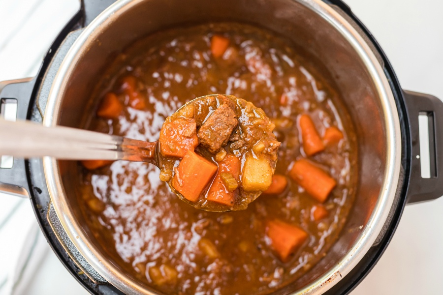 Instant Pot Irish Stew - a ladle full of stew
