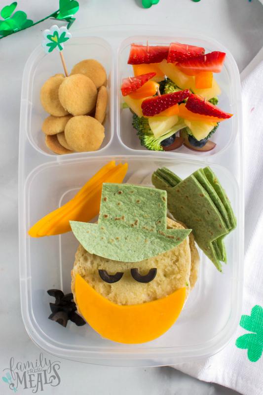 St Patrick's Day Easy Lunchbox Ideas - leprechaun lunchbox idea