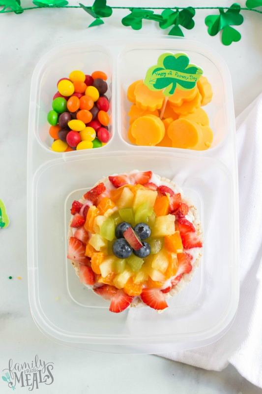 St. Patrick's Day Easy Lunchbox Ideas - rainbow fruit rice cake lunch