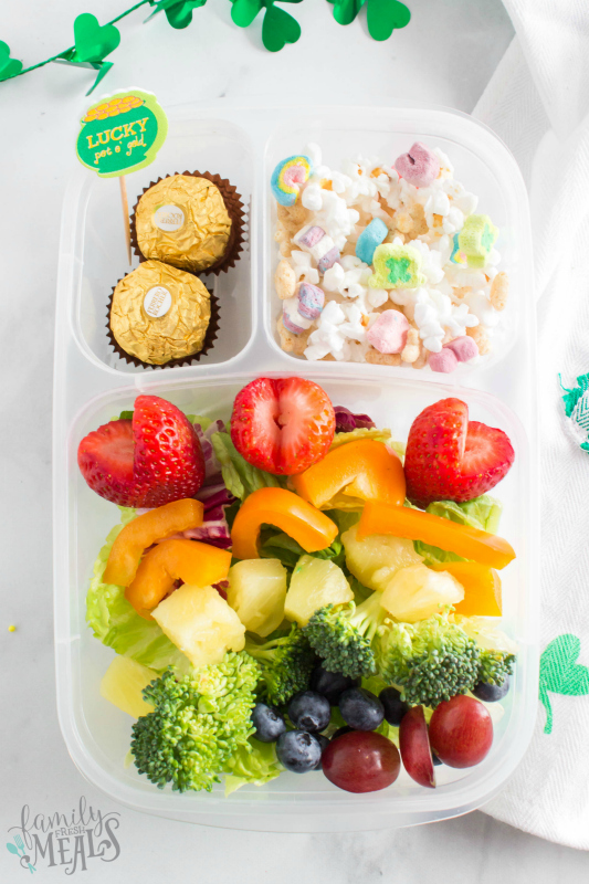 St Patrick's Day Easy Lunchbox Ideas - rainbow salad lunch