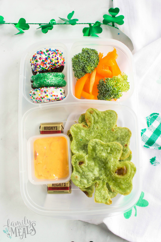 St. Patrick's Day Easy Lunchbox Ideas - shamrock tortilla lunchbox