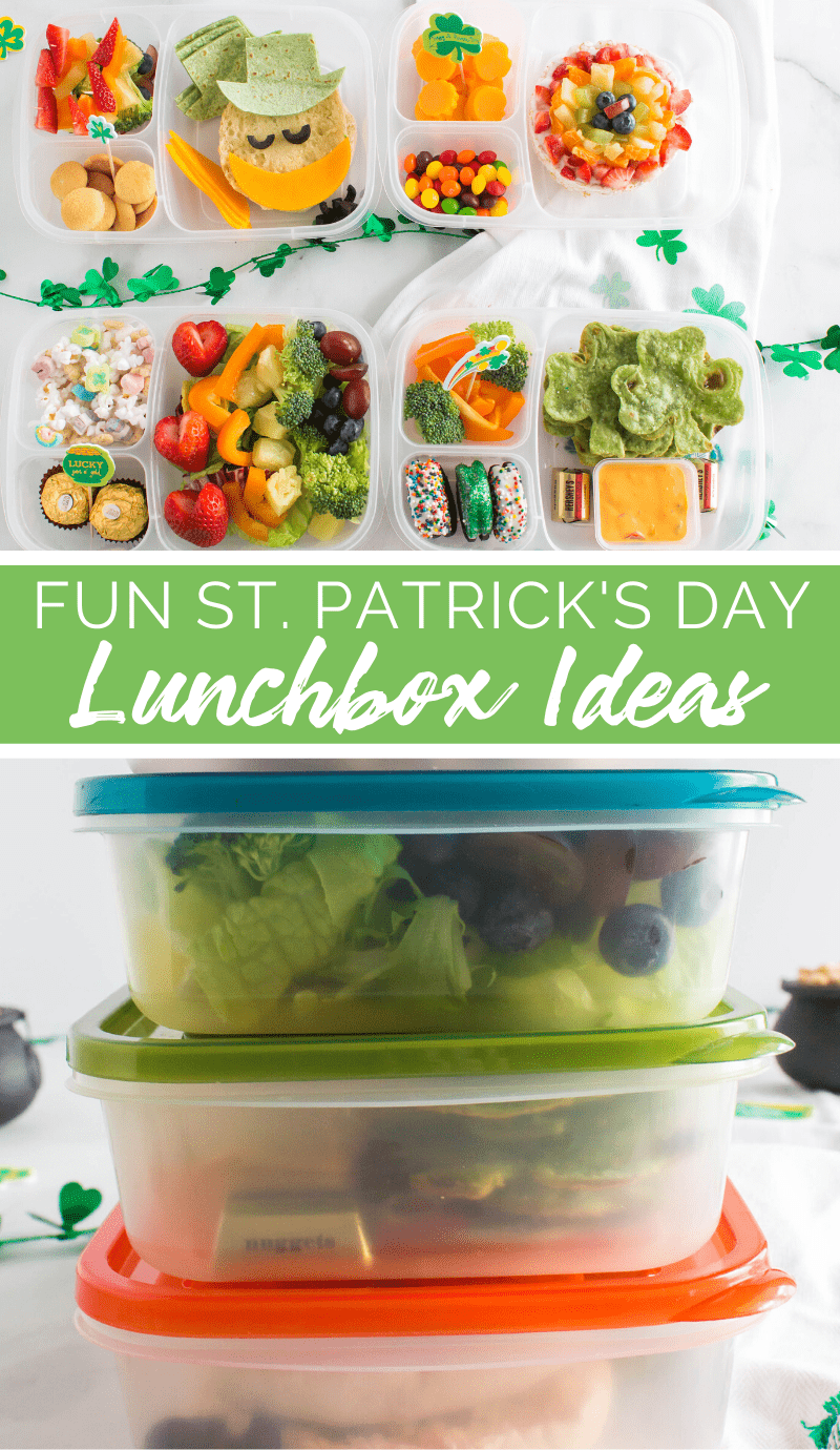 These Fun St Patrick's Day Easy Lunchbox Ideas will brighten up your kid's lunch box with bright colors of yummy food they are sure to love! #lunchbox #easylunchboxes #stpatricksday #rainbow via @familyfresh
