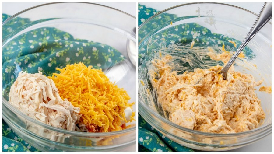Mixing chicken mixture in a glass mixing bowl