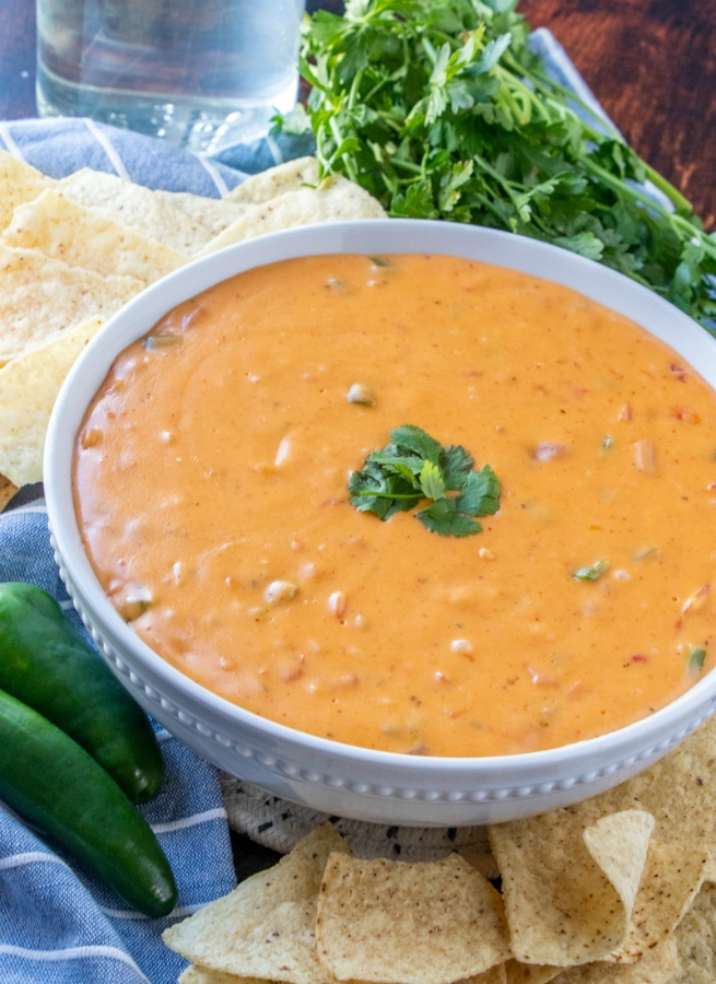 Copycat Chipotle Queso Recipe - served with tortilla chips