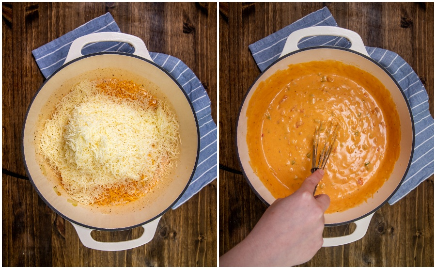 Copycat Chipotle Queso recipe - stirring in cheeses