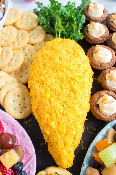 Easter Cheese Ball on appetizer board