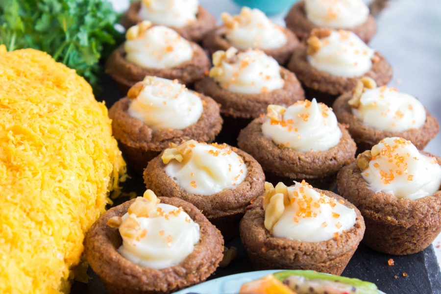 Easter Appetizer Snack Board -- carrot cake cups with cream cheese filling