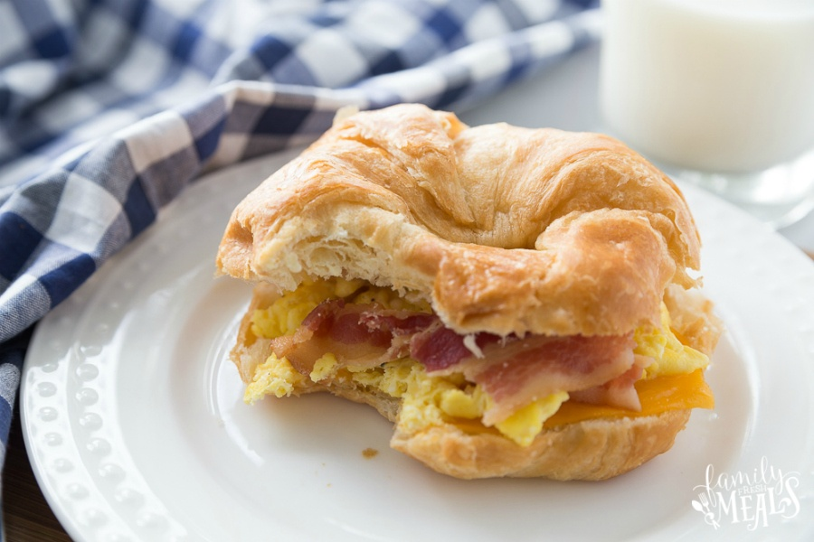 Breakfast Croissant Sandwiches - sandwich on white plate