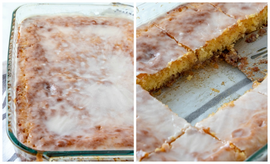 Honey Bun Cake Recipe - 2 images - in the left image, cooked honey bun cake in baking dish. The right picture shows 2 pieces of cake cut out of cake with a spatula