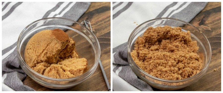2 images showing cinnamon sugar mixture being mixed together