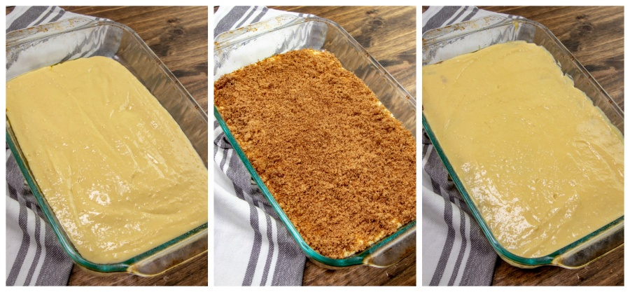 Honey Bun Cake Recipe - 3 images showing the cake being put together in 9 X 13 baking dish by layers